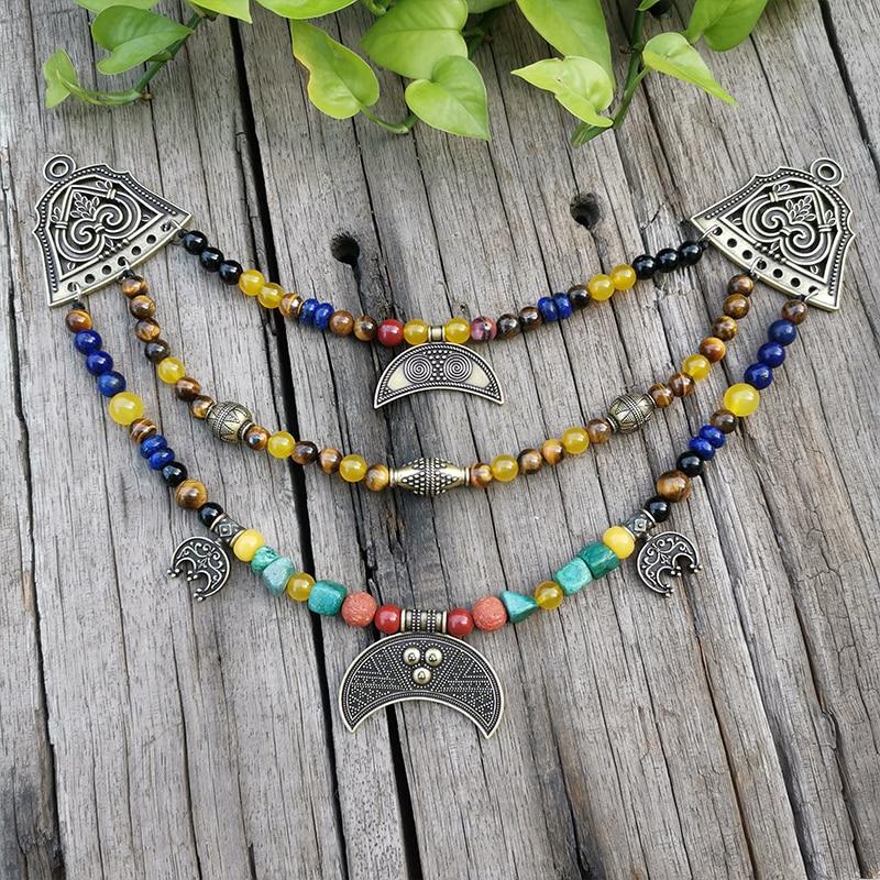 Collar étnico con cuentas de piedra, Ojo de Tigre, ónix amarillo, colgante de Luna, joyería étnica única, juegos étnicos de bronce, regalo de joyería para ti