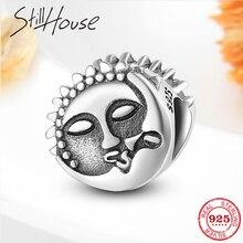Lua beija o sol real 925 contas de prata esterlina para as mulheres caber pandora charme original pulseiras jóias fazendo