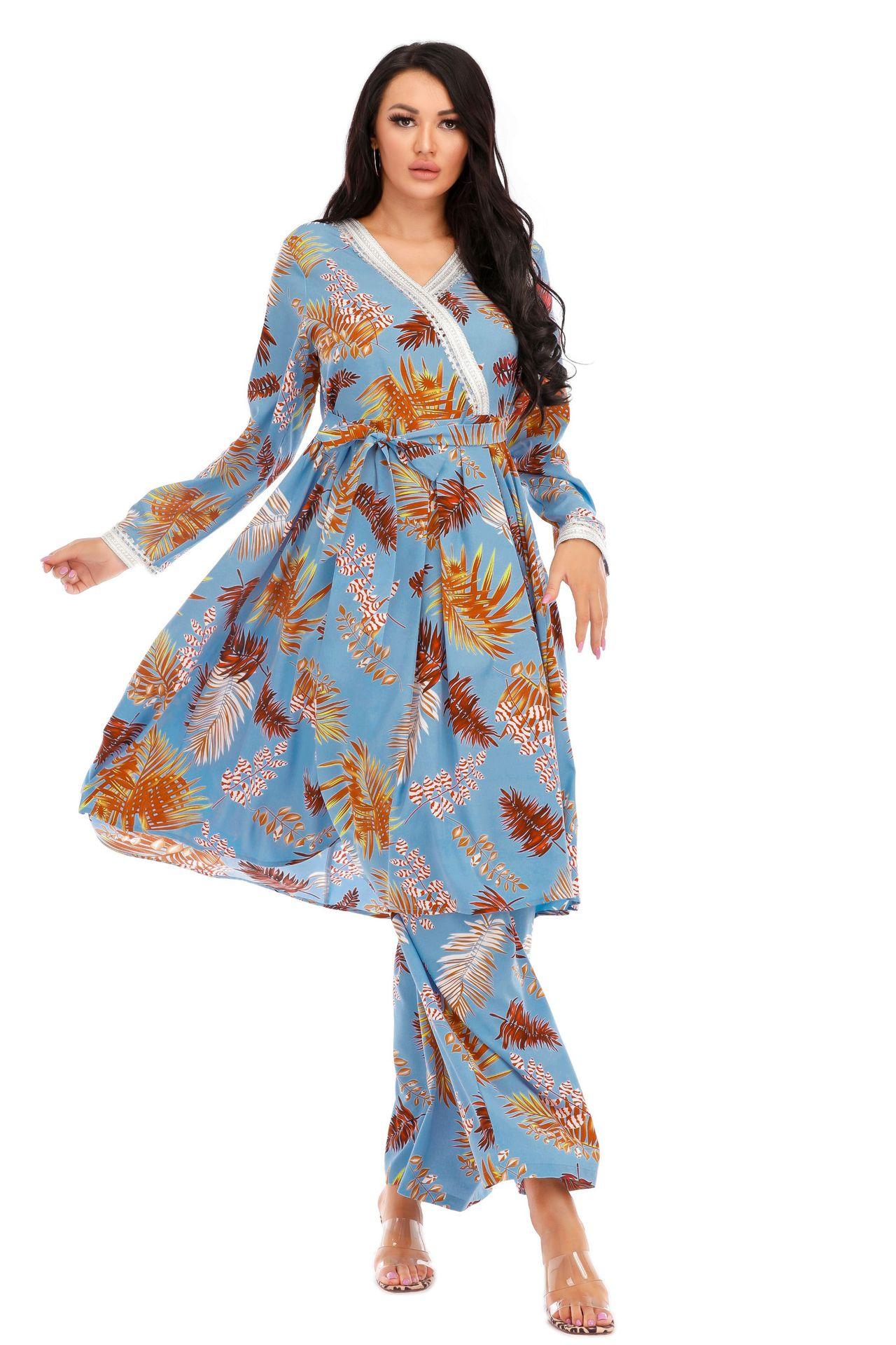 Новый стиль, свободная плиссированная свежая и модная Турецкая мусульманская модная одежда Дубая, одежда Lslamic, костюм из двух частей