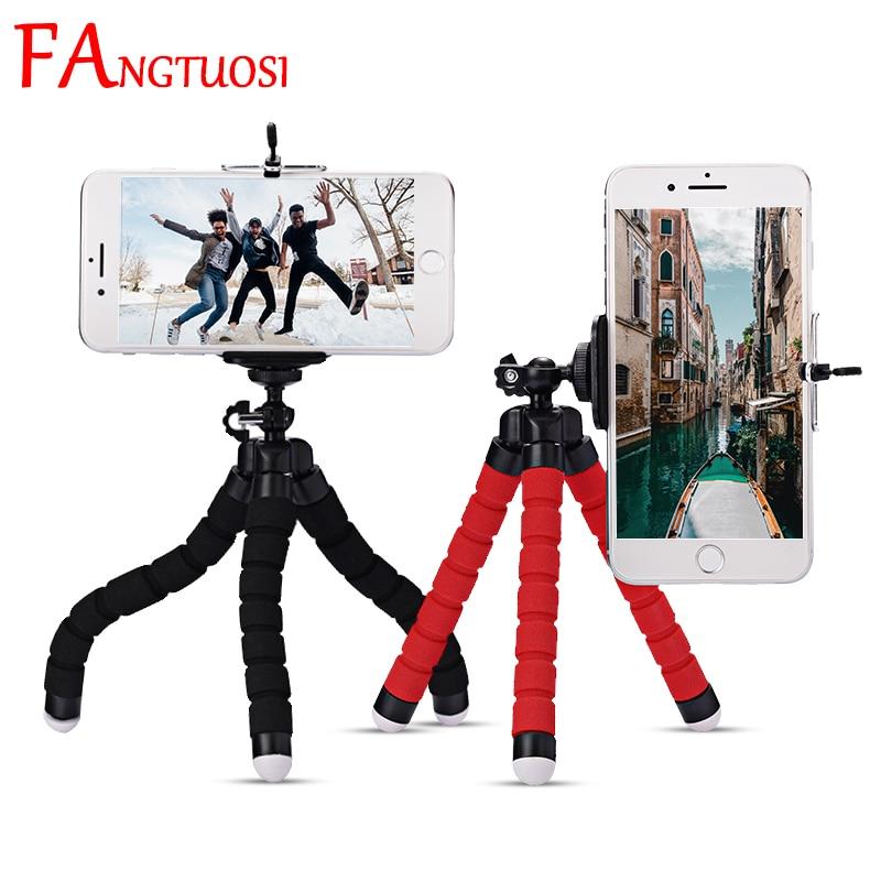 FANGTUOSI Mini Flexible Sponge Octopus Tripod For IPhone xiaomi  bendable Mobile Phone Smartphone Tripod For Gopro 8 7 Camera