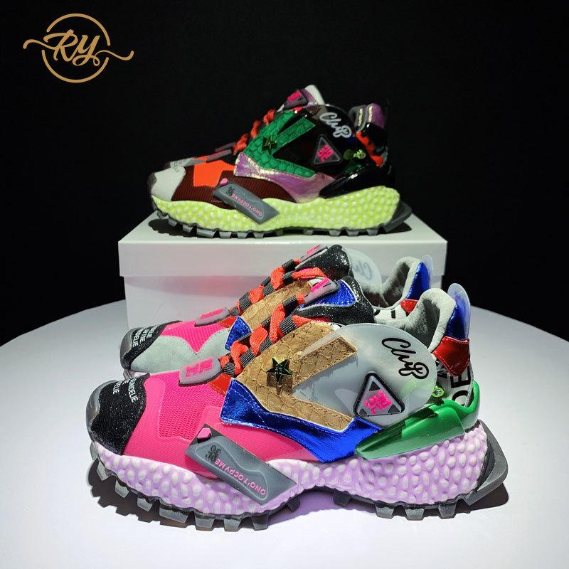 RY-RELAA إمرأة رياضية أحذية 2018 الأزياء جلد طبيعي إمرأة الفاخرة أحذية INS نمط منصة أحذية رياضية مودا موهير 2018 جديد