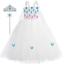 New Elsa Tutu Dress Tulle Kids Dresses for Girs Snow Queen 2 Elsa Cosplay Costume Girls Halloween Birthday Party Princess Dress
