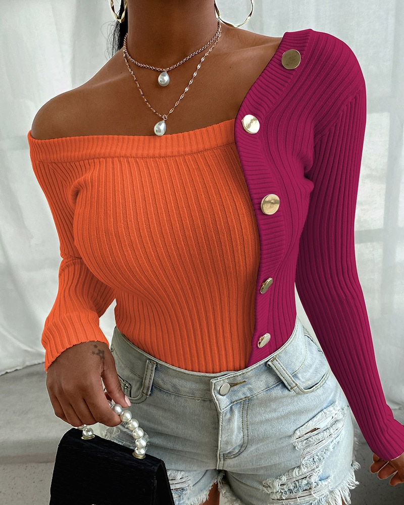 2020 Women Autumn Long Sleeve Sexy Chic Sweater Elegant Button Design Long Sleeve Knit Sweater Rib-knit Colorblock Studded Top