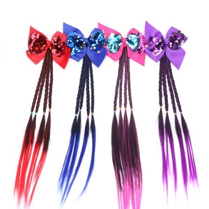 girls Wig Ponytail Hair Band Hair Accessories Hair Clip Hairpin Child fahion sequined bowknot wig gradient twist braid kid Gift