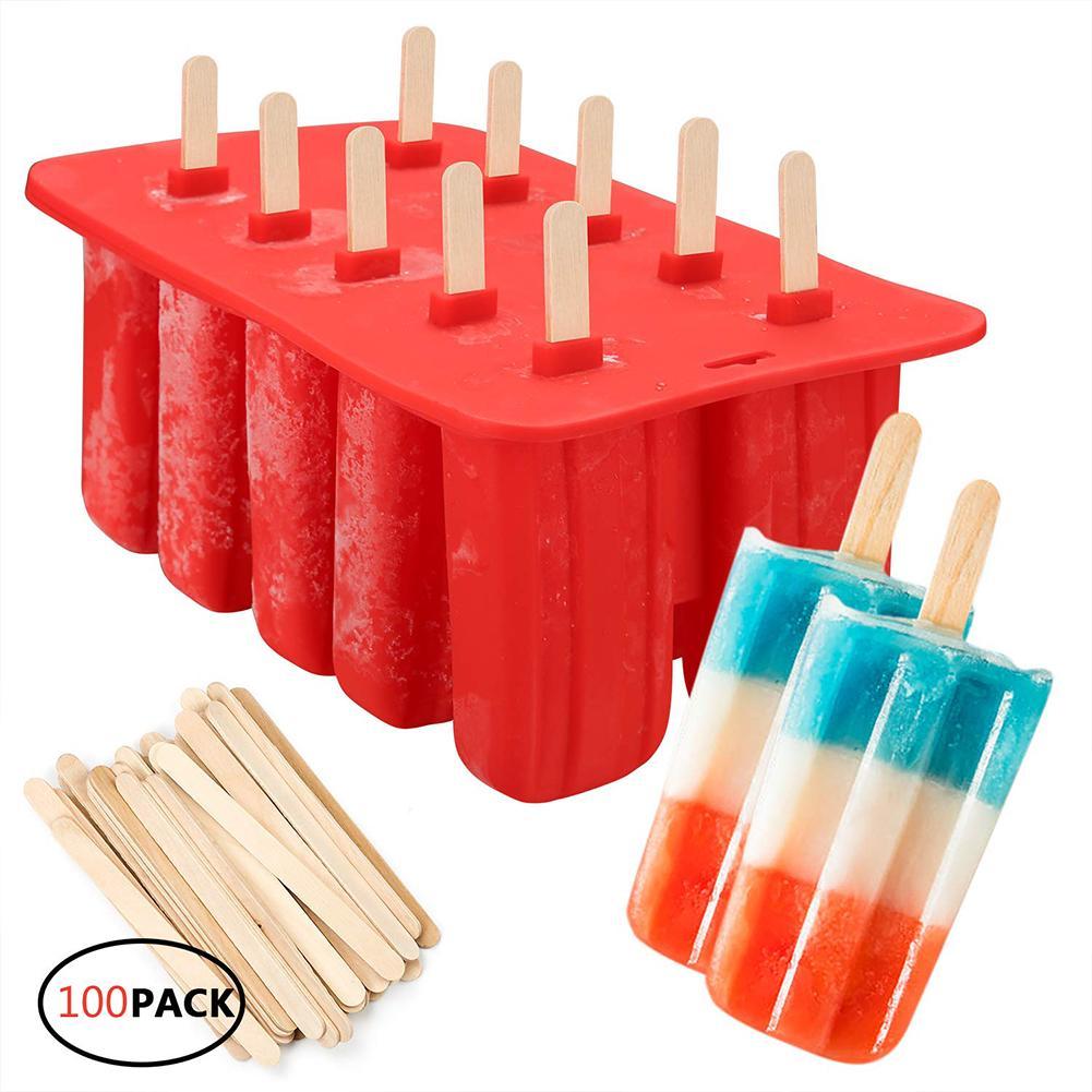 10 mesmo molde de sorvete molde silicone diy sorvete casa molde com 100 varas de madeira ferramentas cozinha