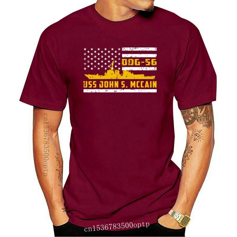 New Ddg-56 Uss John S. Mccain 4Th July American Flag Patriotic Black T-Shirt S-3Xl Round Neck Tee Shirt