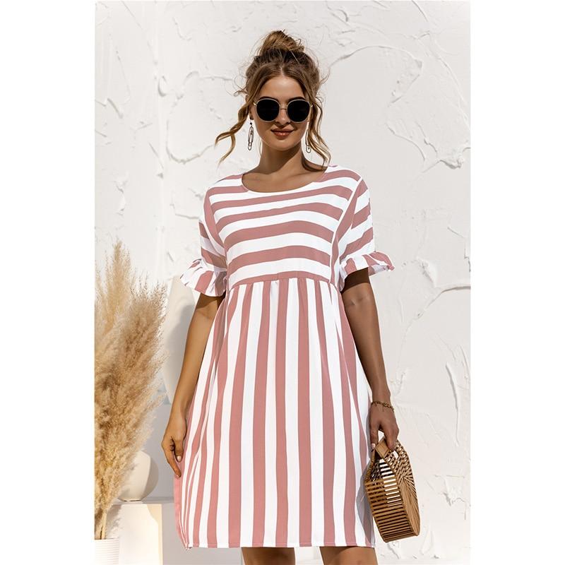 Women Elegant Ruffle Sleeve Striped Patchwork A Line Dress 2021 Summer Casual High Waist O Neck Loose Pocket Dress Beach Wear ruffle trim striped self tie waist dress