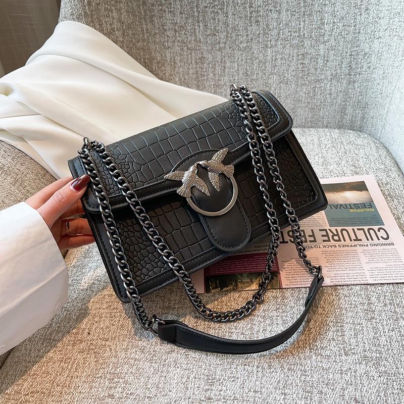 2021 New Brands Designer Women Shoulder Bag Flap ladies leather Handbags Messenger Bag women Clutch Bag Swallow Buckle purse