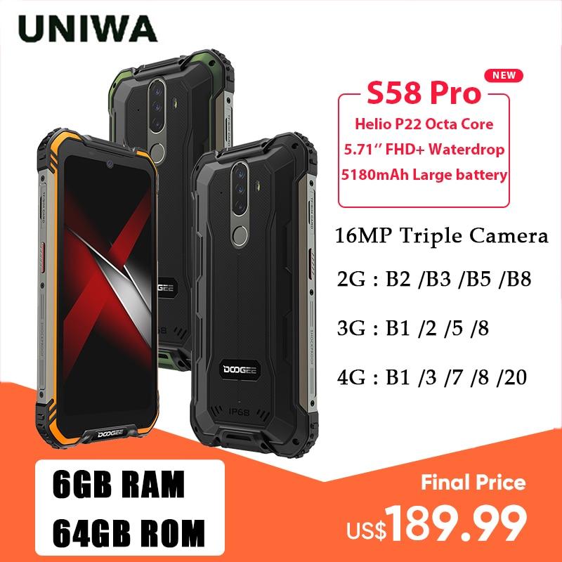DOOGEE S58 Pro IP68/IP69K مقاوم للماء جوّال المهامّ الوعرة 6GB + 64GB أندرويد 10 الهاتف المحمول NFC الهاتف الذكي 5180mAh 5.71