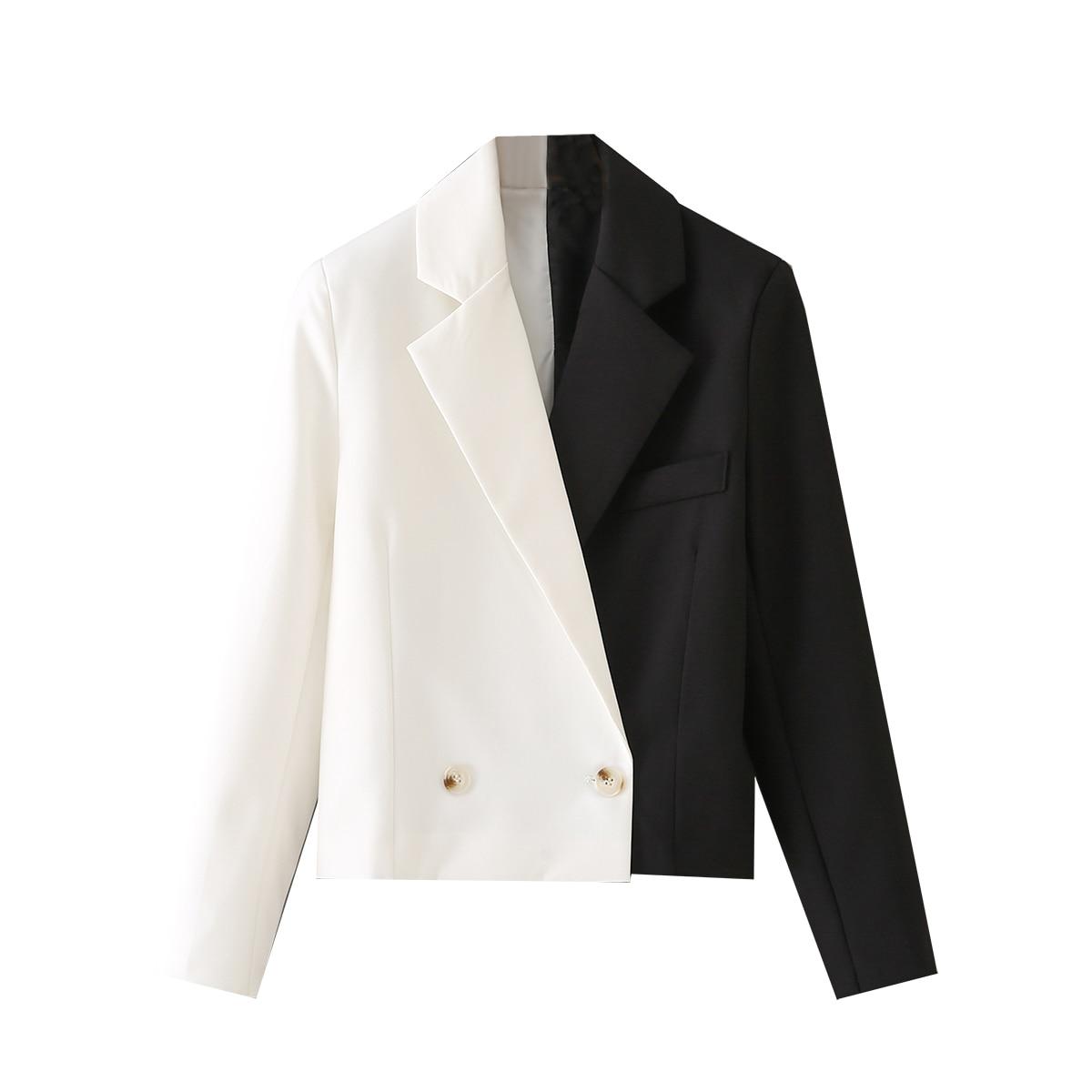 BLSQR التباين اللون بليزر المرأة مزدوجة الصدر موضة المحاصيل السترة معطف سيدة 2021 خمر شيك سترات رجالي فتاة