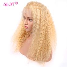 Perruque Lace Front Wig naturelle brésilienne Remy Deep Wave, cheveux naturels, 13x1, pre-plucked, avec Baby Hair, partie centrale, blond 613, 150%