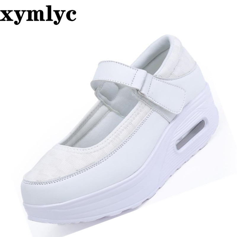 2020 new white color round head female sneakers mesh shoes women  breathable casual shallow mouth thickening Non-slip flat shoes