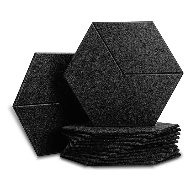 12 قطعة لوحة الصوتية عزل الصوت المجلس ، مسدس عزل الصوت وسادة ، لعزل الصوت والعلاج الصوتي ، أسود