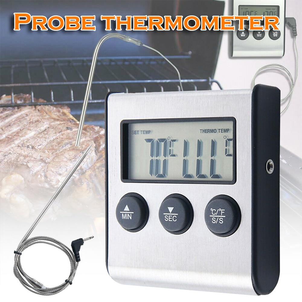 Termómetro Digital para barbacoa, comida, carne, cocina, ahumador, parrilla, horno, termómetro con temporizador, sonda de acero inoxidable, herramientas de cocina