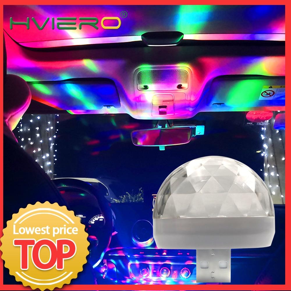 Auto led usb led luz ambiente dj rgb mini música colorida som luz USB-C interface interface apple festa de férias karaoke lâmpada