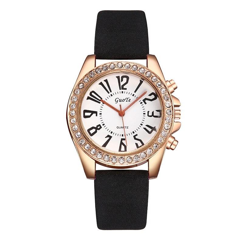 New GUOTE diamond-encrusted quartz women's watch Rhinestone large digital scale belt watch woman