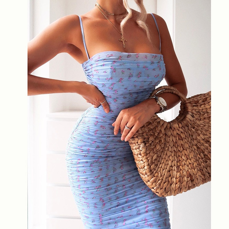 oxiuly vintage hollow out spaghetti strap floral print patchwork work dress a line female fit and flare knee length causal dress NewAsia Mesh Women Dress Summer 2020 Spaghetti Straps Knee-length Elegant Dress Slim Fit Floral Print Ruched Dresses Blue