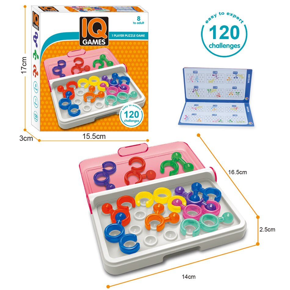 ¡120! Rompecabezas 3D con lógica IQ de Link, juego de mesa de rompecabezas Tangram intelectual, juguete educativo para niños y adultos