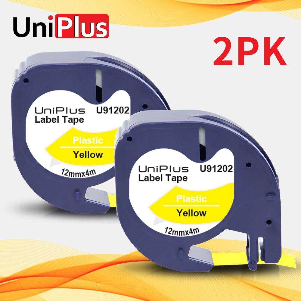 Uniplus 2PK 91332 91222 12 ミリメートルラベリングテープdymo letratag 91202 ブラックイエロー用ltラベルメーカーQX50