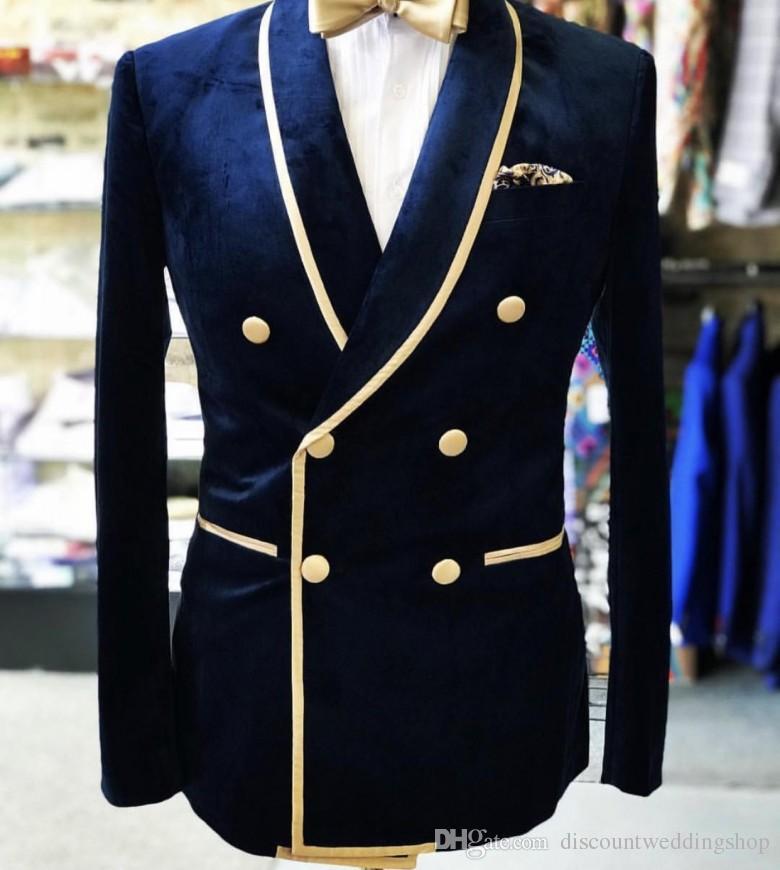بدلة زفاف مخملية مزدوجة الصدر للرجال ، بدلة زفاف ، أزرق كحلي ، بدلة سهرة ، جاكيت وسروال ربطة عنق ، 2020