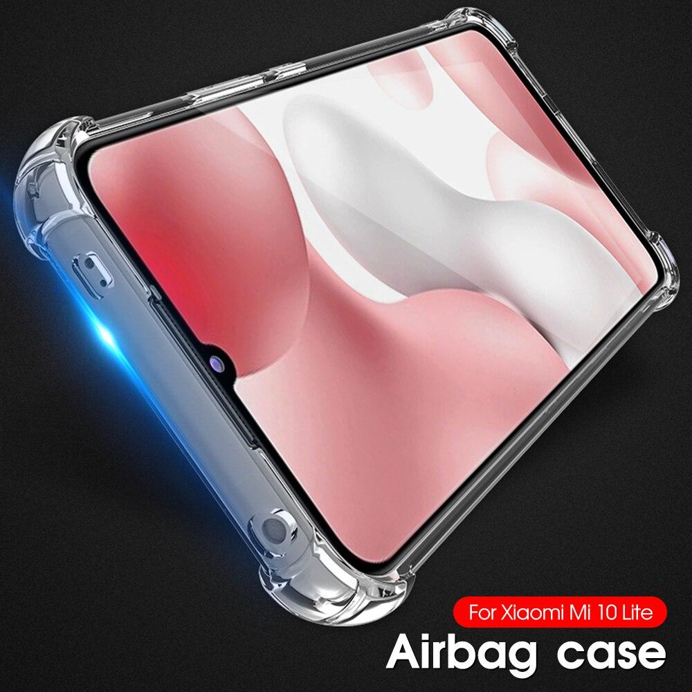 Caso airbag à prova de choque para xiaomi redmi mi 10 9 lite pro 5g tpu macio ani-knock capa para xiaomi mi9 mi9t se casos transparentes