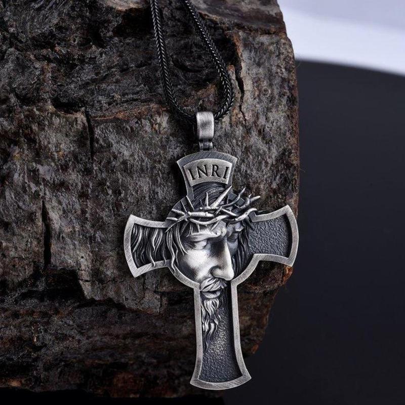 Ожерелье в стиле ретро Jesus Cross, модные кожаные ожерелья с подвеской в виде веревки, мужские и женские ювелирные изделия для верующих, Золотая Серебряная корона из шипов