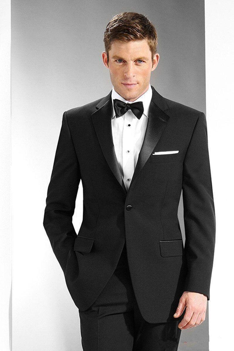 New Stylish Design Groom Tuxedos One Button Black Notch Lapel Groomsmen Best Man Suit Mens Wedding Suits (Jacket+Pants+Tie)  218
