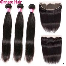 O cabelo reto brasileiro ornamentado empacota com cabelo humano frontal tecer 4 pacotes com orelha a orelha fechamento frontal do laço não remy