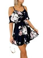 2021 autumn new print v neck spliced off the shoulder spaghetti strap short sleeve dresses for women donsignet