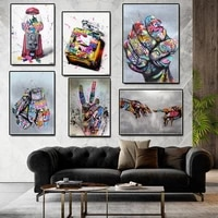abstract black white print poster kiss graffiti in hand canvas painting portrait prints wall decoration picture for hoom decor