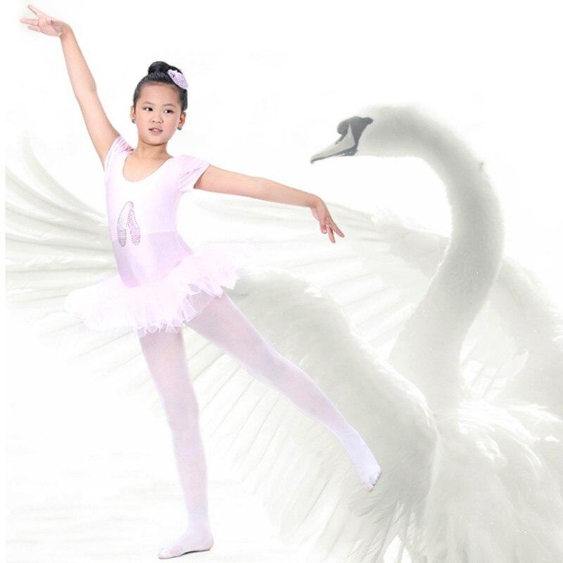Vestido de Ballet de manga corta para niñas, tutú de bailarina para niños, trajes de Ballet, leotardo de baile, Ropa de baile c2