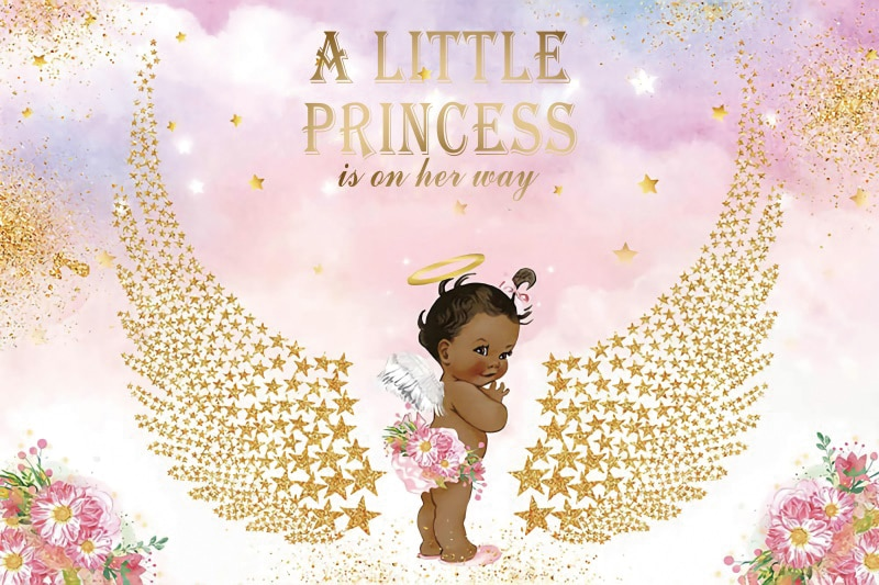 Princess Or Prince Backdrops For Photography Headboard Golden Angle Wings Customized Banner Birthday Party Photo Backgrounds enlarge