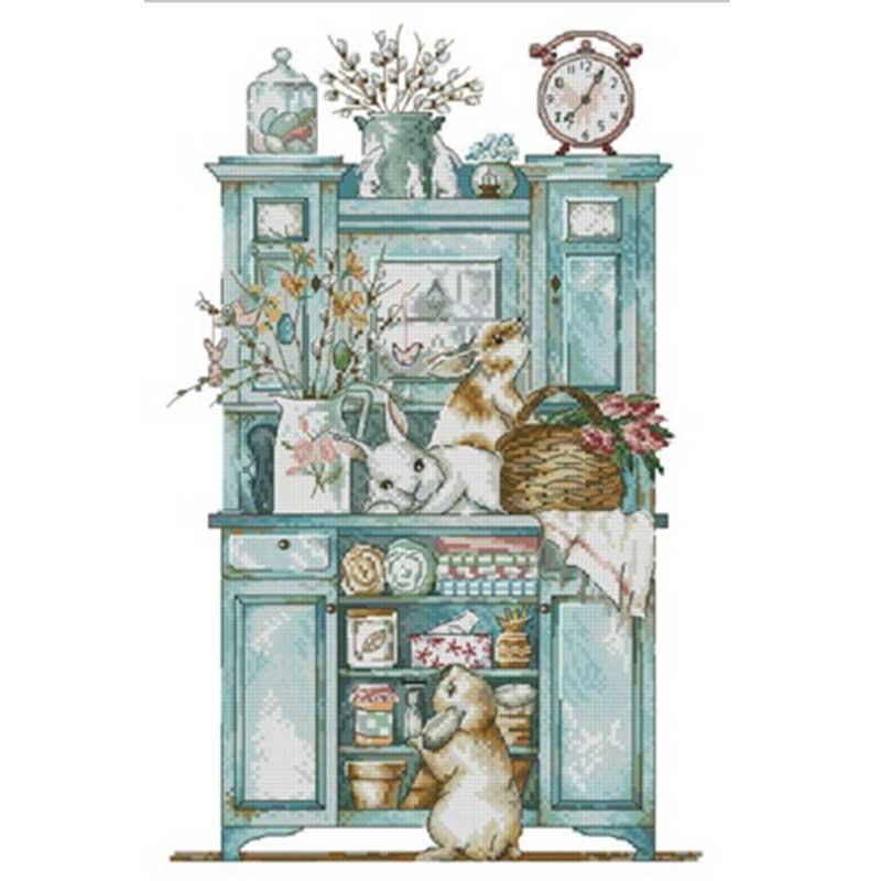 Diseños de taquilla de conejo punto de cruz contado 11CT 14CT 18CT DIY venta al por mayor juegos de costura de punto de cruz chino bordado