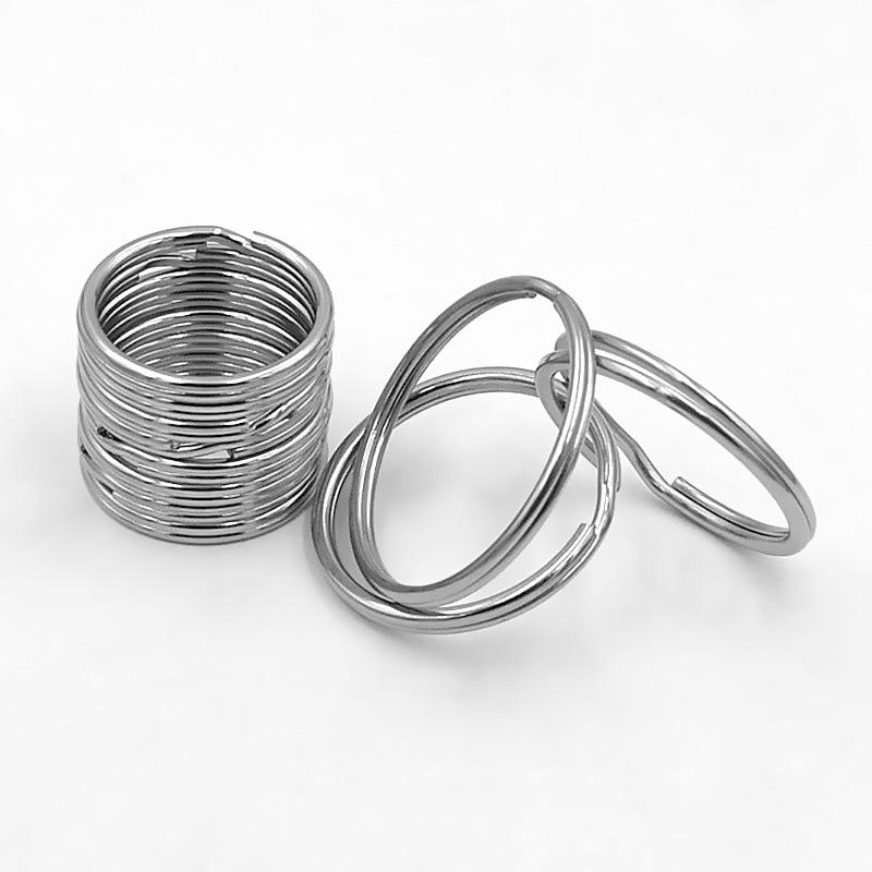10pcs/lot Stainless Steel Hole Key Ring Key Chain 20//25/30/32/35mm Women Steel Round Split Cute Keychain Gifts for Men  Ff Bts