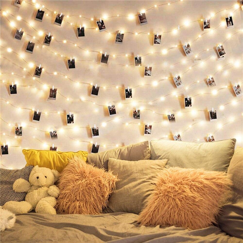 Usb led clipe de foto luzes da corda 30 50 100 led fada cobre prata luz para pendurar imagem dormitório quarto guirlanda natal parede deco