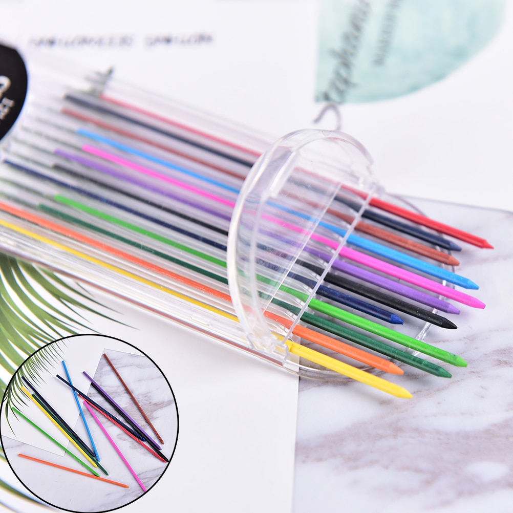 12pcs/pack Mechanical Pencil Color Lead Refill 12mm Red Pink Yellow Bule Orange Green Drawing Colored