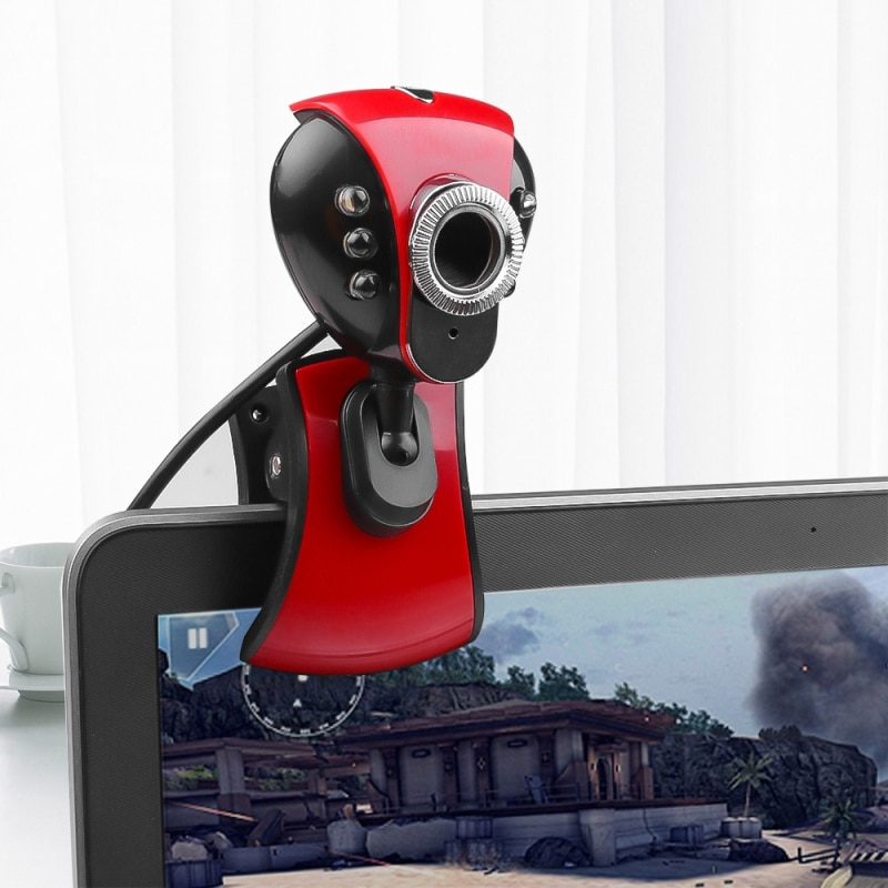 Latest Computer Cameras USB 2.0 50.0M 480P 6 LED HD Webcam W/ MIC For PC Laptop Computer Peripherals Auto Exposing Control