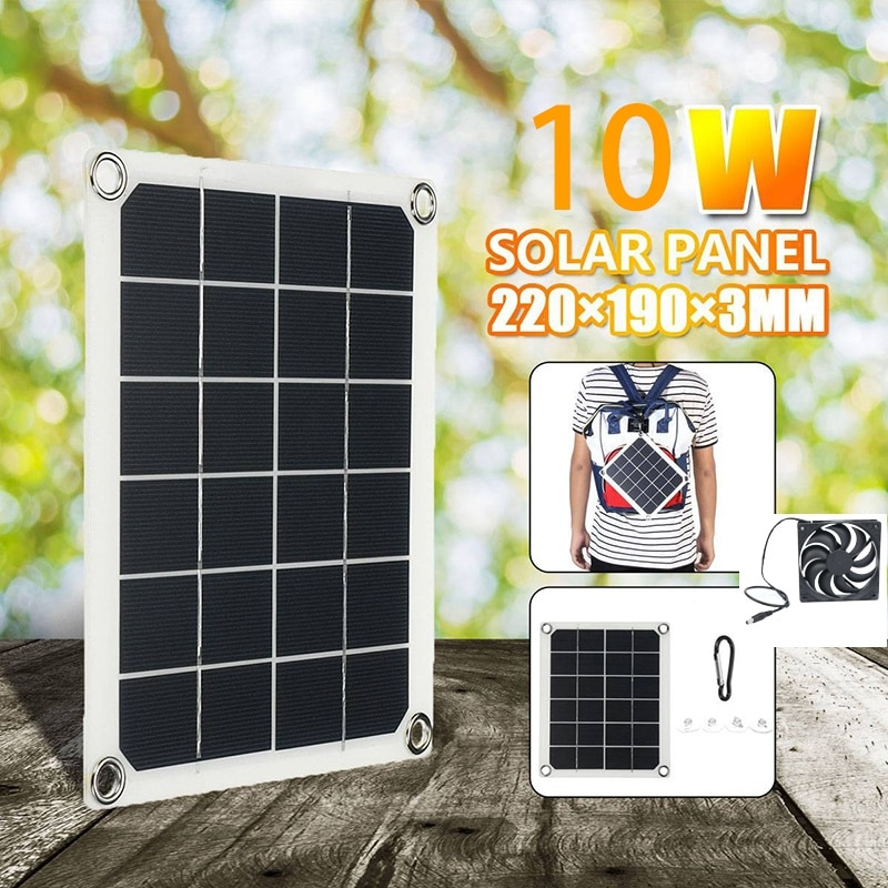 Solar Panel Exhaust Fan, 5V10W Waterproof Solar Exhaust Fan, Portable Exhaust Fan for RVs, Greenhouses, Pet Houses