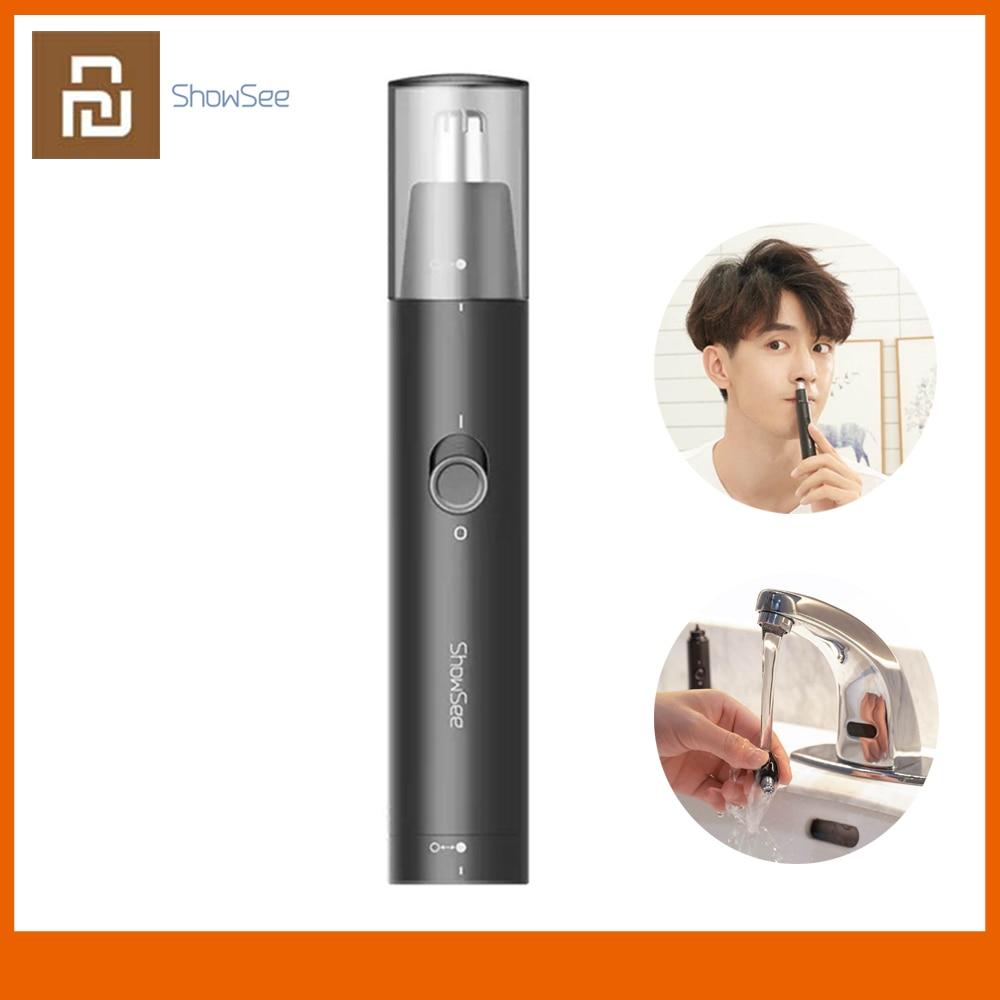 Youpin-afeitadora de nariz ShowSee, afeitadora negra de poco ruido, fuerte fuerza de corte sin tirar del pelo, afeitadora indolora para nariz
