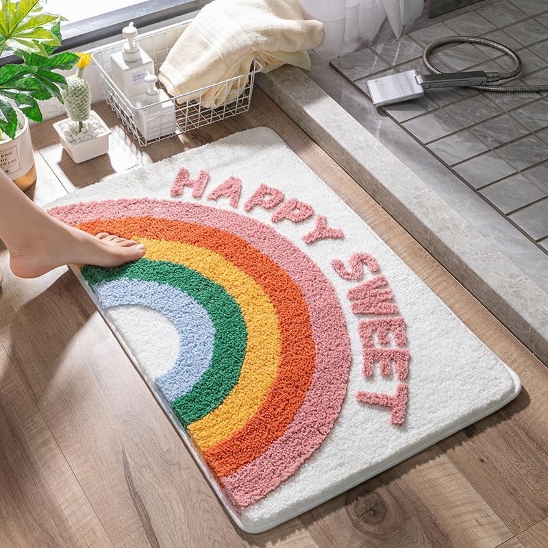 Eovna Мультяшные абсорбирующие напольные коврики для ванной комнаты, Нескользящие Коврики для спальни, дверные коврики, коврики для дверей ту...