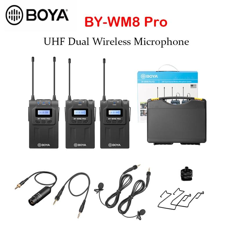 Promo BOYA BY-WM8 Pro K1 K2 BY-WM4 Pro Microphone UHF Dual Wireless Condensador Microfone Interview Mic for iPhone DSLR Video Camera