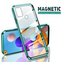 360 ° étui à rabat magnétique pour samsung galaxy a21s a51 a71 a31 a11 a41 samsung a 21s 51 71 31 11 coque de téléphone en verre trempé