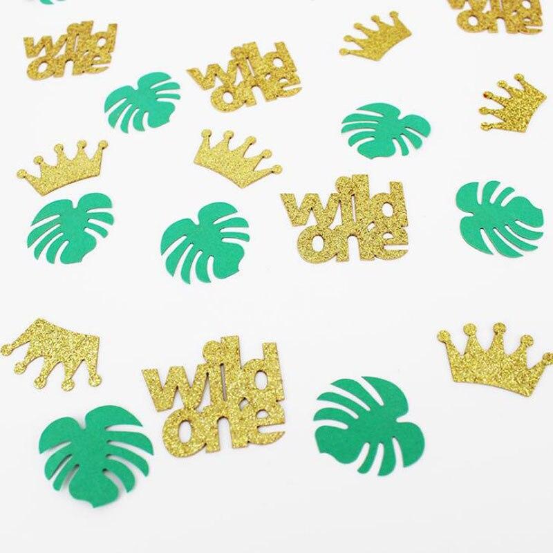 100 unids/pack Hawaii hoja de tortuga Wild One Glitter papel Confettis Baby Shower fiesta de cumpleaños Mesa Scatter DIY Decoración