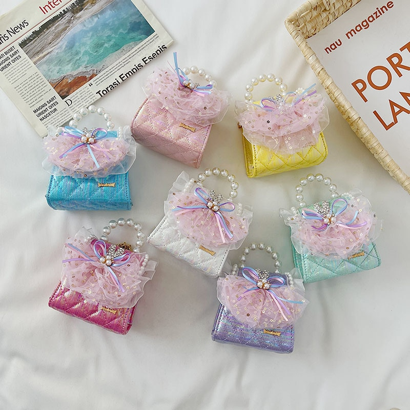 Bolsas e Bolsas de Mão Crianças Bonito Meninas Mini Crossbody Kawaii Menina Laço Festa Bolsa Tote Criança Moeda 2021