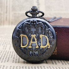 Gran amor por padre negro oro reloj de bolsillo para padre COLLAR COLGANTE de movimiento de cuarzo reloj para regalos para papá CF1012