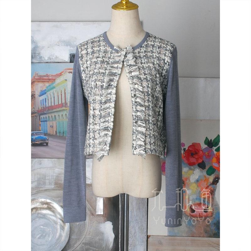 2021 Japanese and Korean style front twill weaving flower tassel stitching Merino Wool Women's knitted cardigan thin coat enlarge