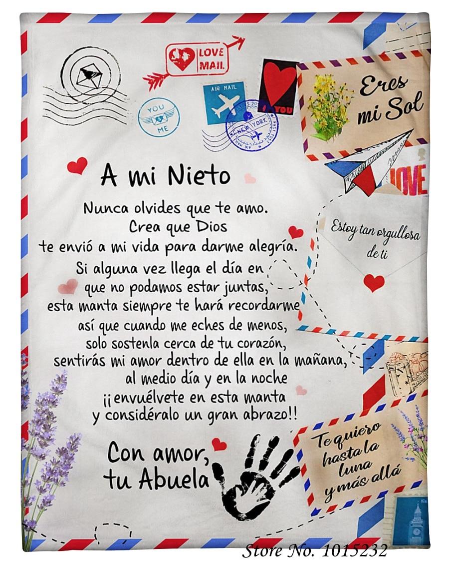 رسالة mi Nieto النسخة الإسبانية قبل مي أم الصوف شيربا بطانية ديكور غرفة نوم المنزل مخصص الفانيلا البطانيات للأطفال لحاف 01