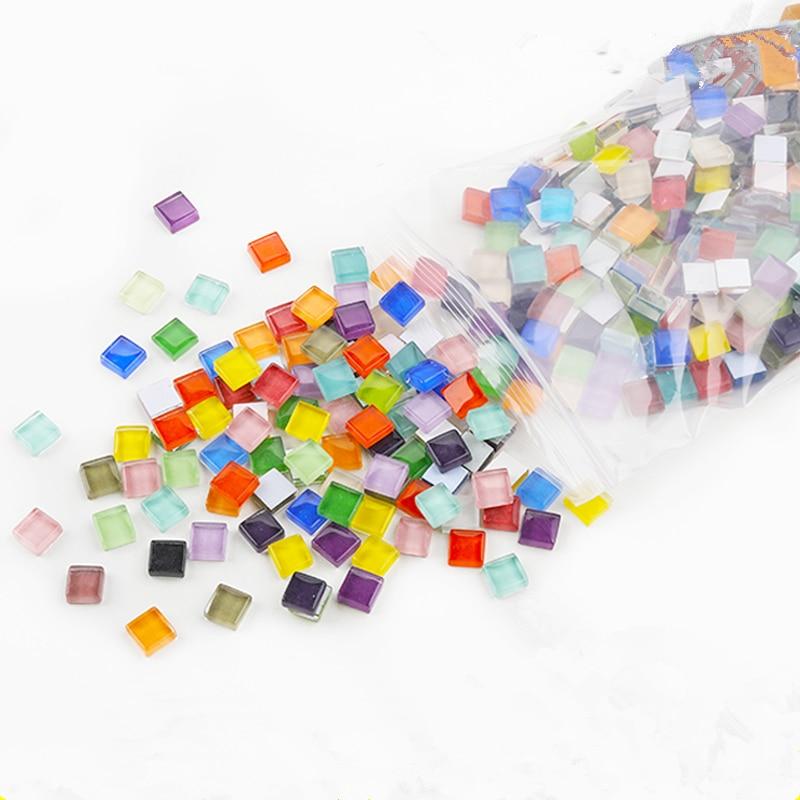 300 ⑤ упак. Красочные Хрустальные стеклянные мозаичные плитки DIY материалы Дети DIY ремесло ручной работы квадратные мозаичные камни детские ...