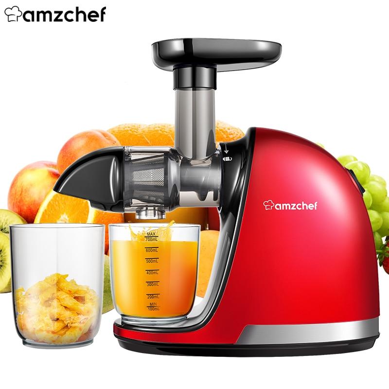 Профессиональная медленно витая соковыжималка AMZCHEF ZM1501, соковыжималка для фруктов и овощей, компактная соковыжималка холодного отжима