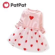 PatPat-robe Tutu à manches longues   Jolie robe dété, Design Faux-deux cœur, pour bébé et enfant en bas âge, nouvelle collection printemps 2020